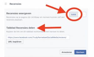 FB Recensies - zet schuifje op AAN