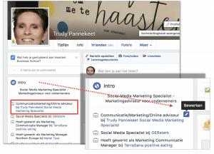 Ga met je muis over het Intro en dan kun je je Facebookpagina bewerken om je zakelijke Facebookpagina te koppelen aan je privé-pagina