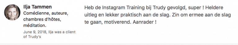 InstagramTraining recensie Ilja Tammen