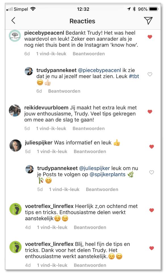 Tevreden klanten na InstagramTraining Trudy Pannekeet