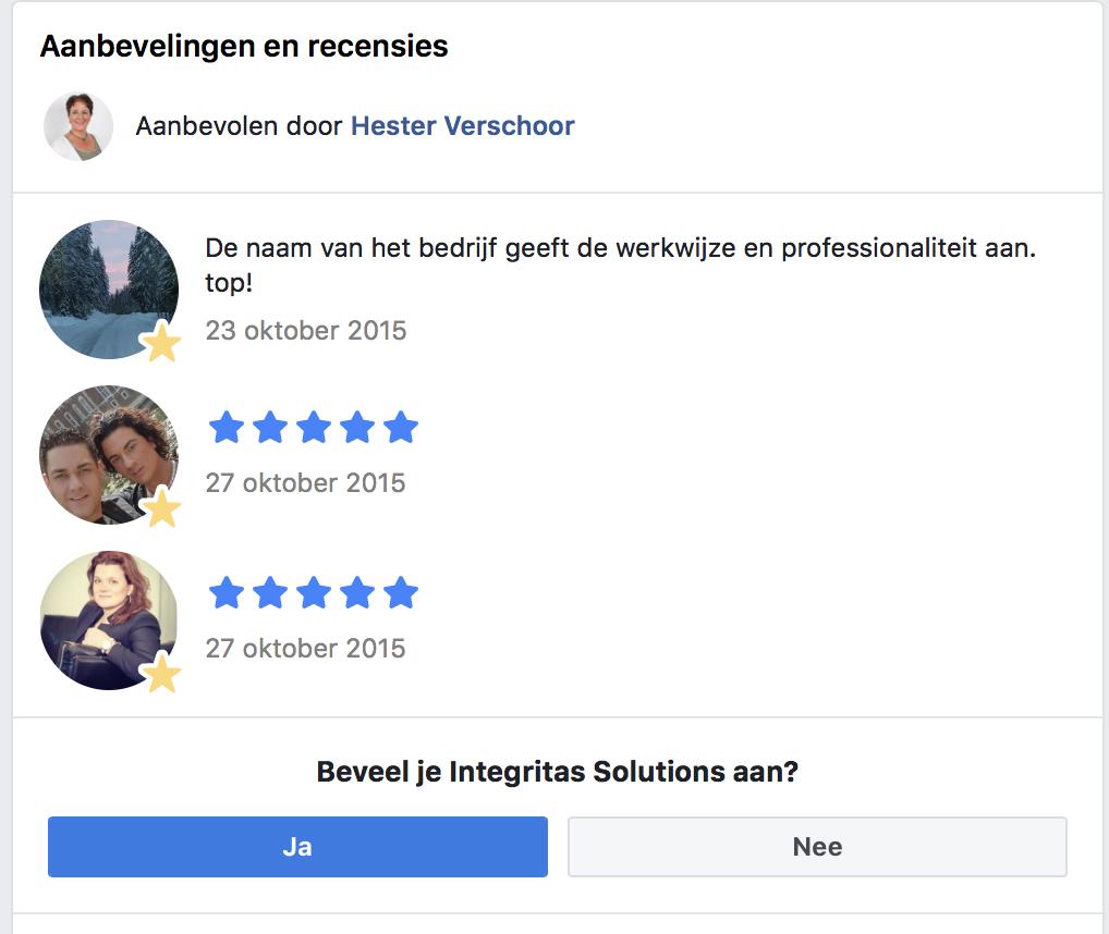 Facebook aanbeveling - Waar staat de Facebook aanbeveling
