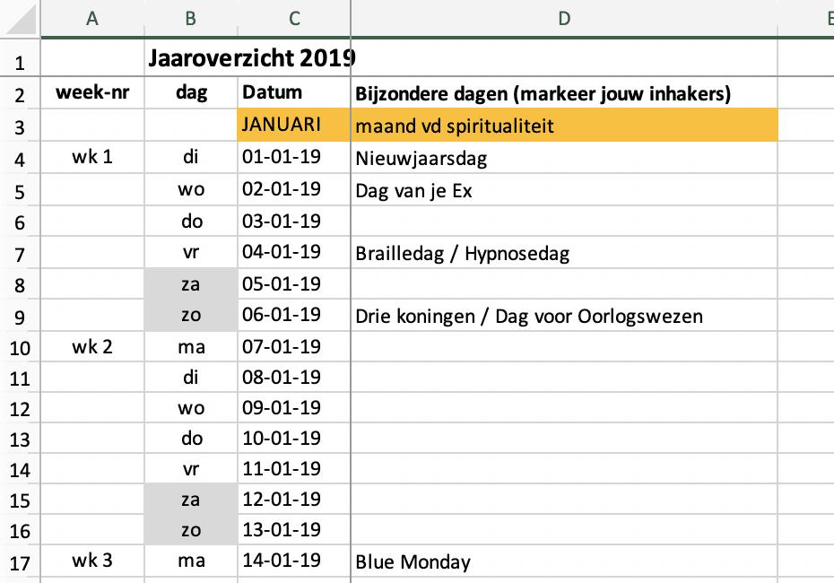Contentkalender 2019 in excel - Trudy Pannekeet