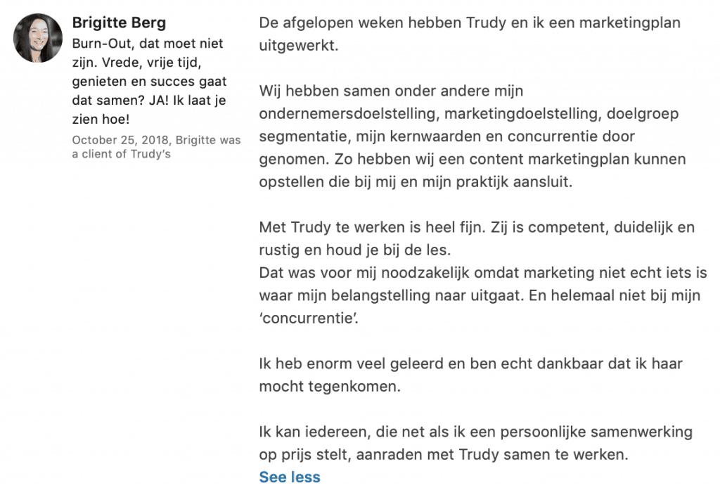 Marketing coaching voor ondernemers - Trudy Pannekeet - Birgitte Berg