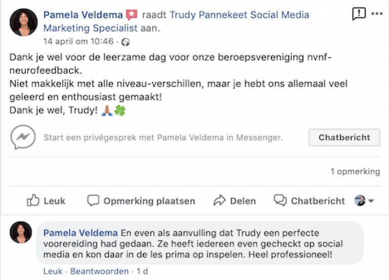 InstagramTraining Neurofeedback trainers - Trudy Pannekeet - recensie Facebook
