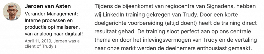 Recensie LinkedIn incompany Training Signadens - tandtechinici