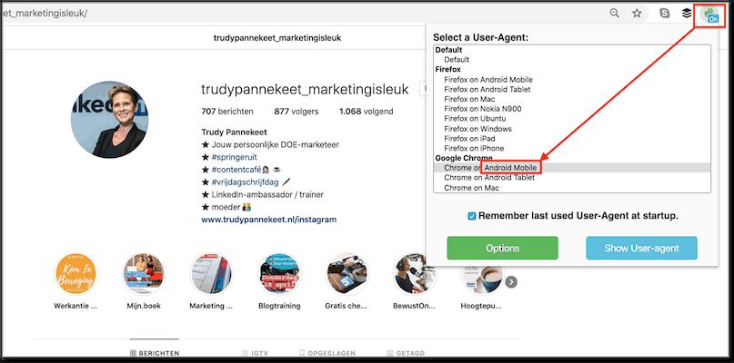 Instagram op je laptop Met Chrome extensie op mobiel