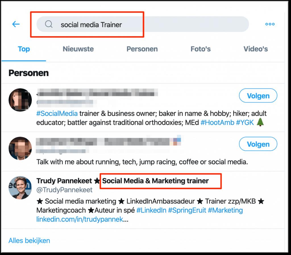 Twitter beter gevonden - Naam anders dan gebruikersnaam -  Social Media Trainer - Trudy Pannekeet