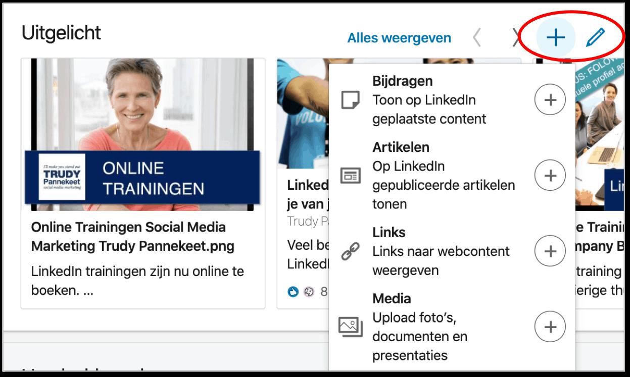 LinkedIn Uitgelicht - Nieuwe functie Branding Trudy Pannekeet