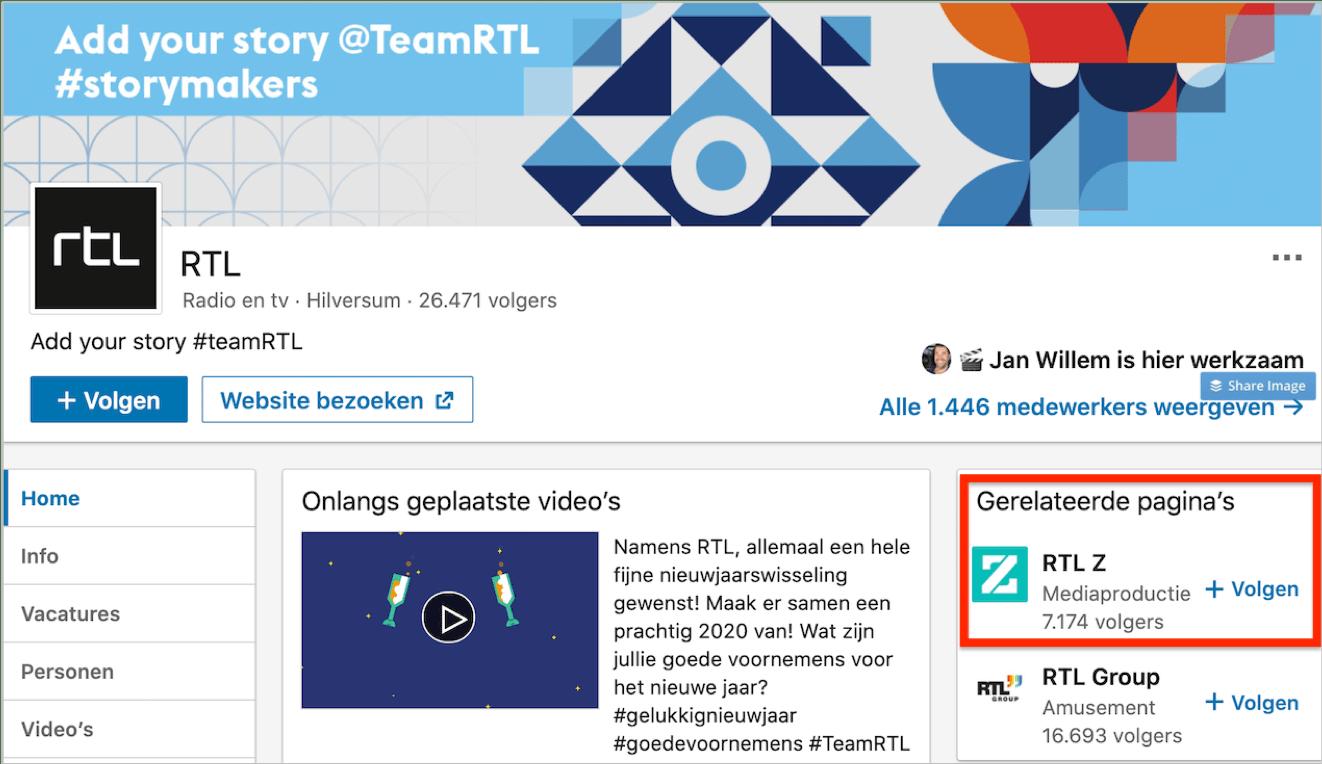 LinkedIn bedrijfspagina RTL - showcasepagina RTL-Z