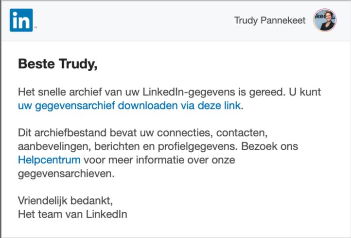 LinkedIn archief downloaden. Mail dat je download klaar staat