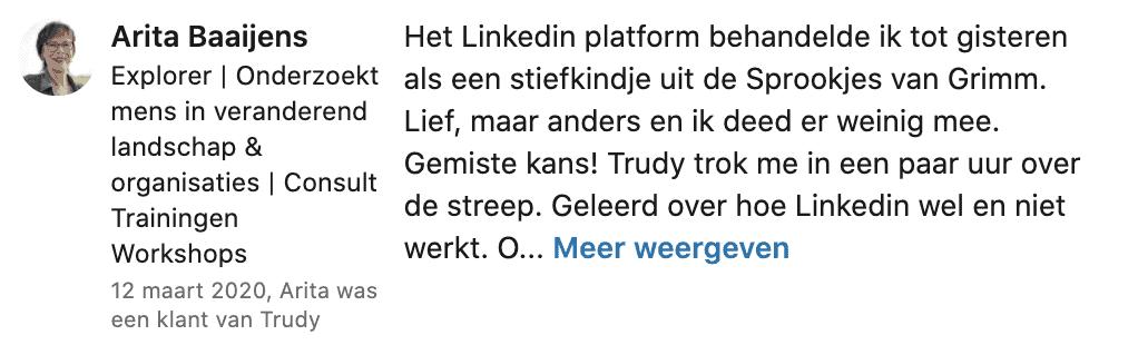 Recensie LinkedIn Trudy Pannekeet door Arita Baaijens 2020