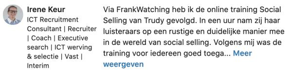Recensie LinkedIn Trudy Pannekeet door Irene Keur 2020