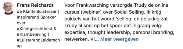 Recensie LinkedIn Trudy Pannekeet door Klantenfluisteraar Frans Reichardt 2020