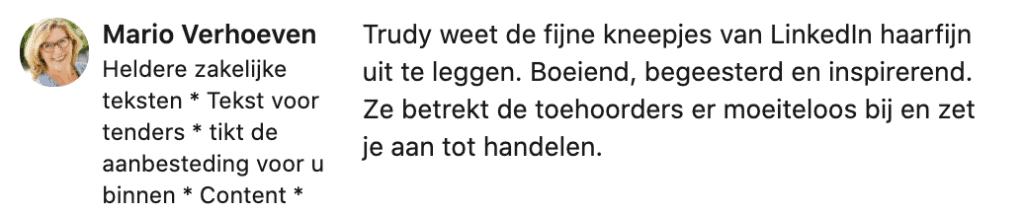Recensie LinkedIn Trudy Pannekeet door Mario Verhoeven 2020